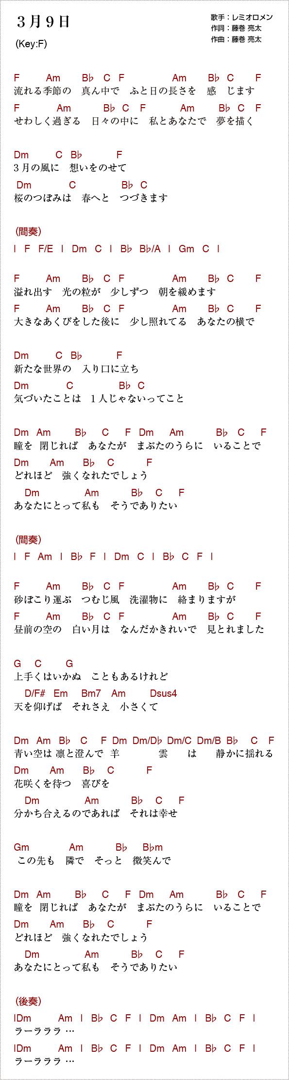 3 月 9 日 コード 3月9日(レミオロメン) / コード譜 / ギター